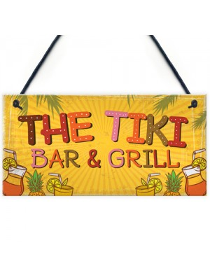 Tiki Bar & Grill Party Hanging Bar Pub Plaque Beer Cocktail Gift