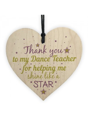 Thank You Dance Teacher Wood Heart Sign Goodbye Friendship Gift