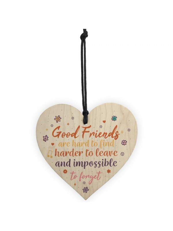 Best Friend Sign Friendship Plaque Handmade Wood Heart Thank You