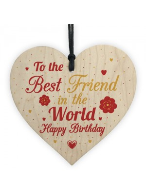 Happy Birthday Best Friend Gift Wood Heart Sign Thank You Plaque