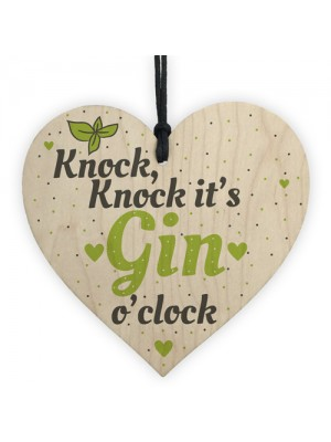 Gin O Clock Wood Heart Plaque Novelty Friendship Alcohol Gift