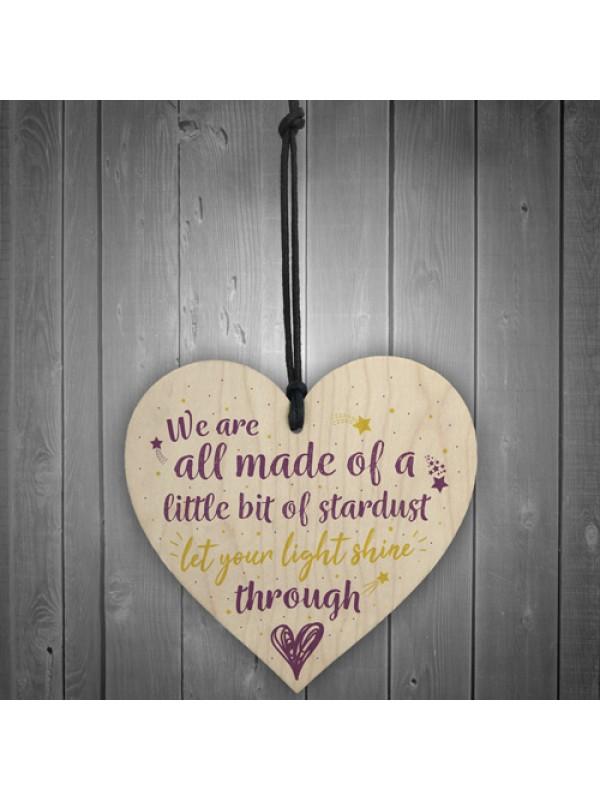 Inspirational Friendship Family Gift Wooden Heart Love Sign