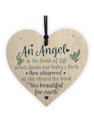 Angel Baby Memorial Gifts Wooden Heart Plaque Bereavement Sign