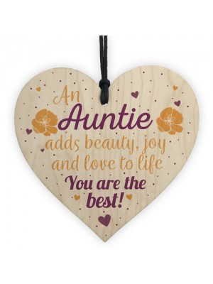 Auntie Gifts Thank You Sign Wooden Heart Plaque Birthday Gift