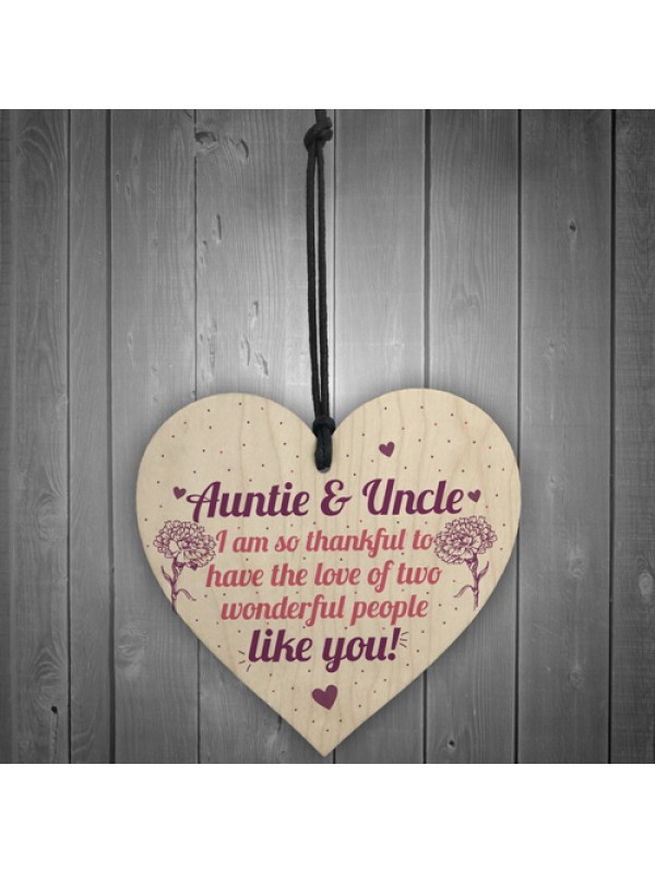 Auntie Gifts For Uncle Thank You Wooden Heart Plaque Chic Sign