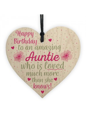 Birthday Gifts For Auntie Thank You Wooden Heart Plaque Sign