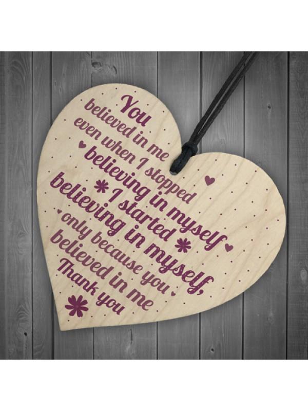 Friendship Sign Motivational Wood Heart Thank You Gift For Women
