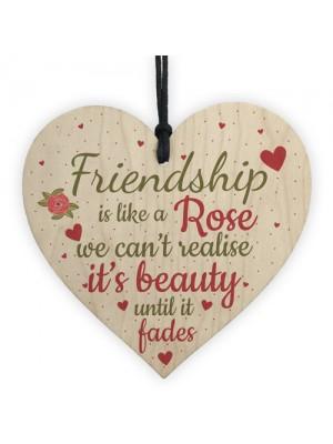 Friendship Gift Best Friend Wood Heart Thank You Goodbye Sign