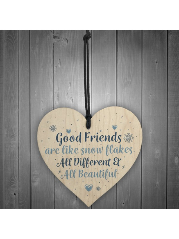 Friendship Gift Friends Are Like Snowflakes Wood Heart Thank You