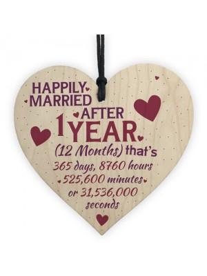 1 Year Anniversary Married Wooden Hanging Heart Sign Keepsake