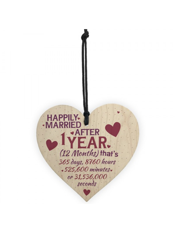 1 Year Anniversary Married Wooden Hanging Heart Sign Keepsake