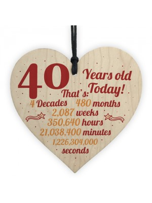Novelty 40th Birthday Gift Wooden Heart Plaque Friendship Gift