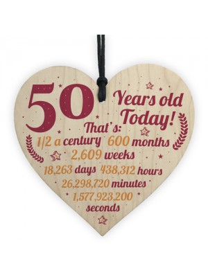 Novelty 50th Birthday Gift Wooden Heart Plaque Friendship Gift