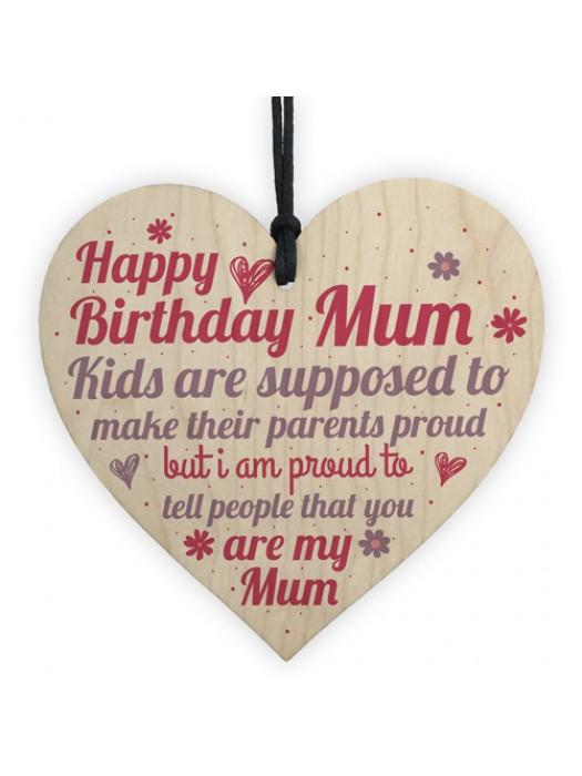 Special Mum Birthday Gift Wooden Heart Sign Card Keepsake Gift