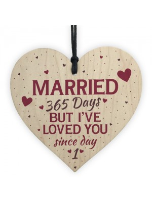 1st Wedding Anniversary Wooden Hanging Heart Sign Keepsake Gift