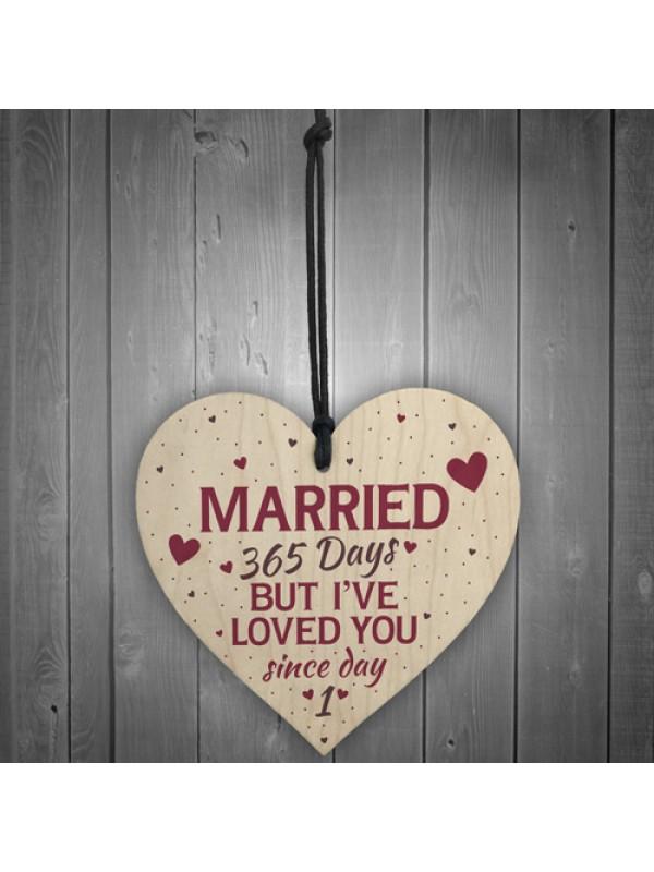 1st Wedding Anniversary Wooden Hanging Heart Sign Keepsake Gift