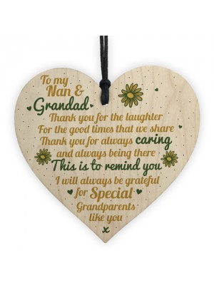 Grandparents Gifts Grandad Grandpa Grandma Nan Wooden Heart