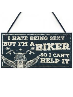 Motorbike Biker Hanging Plaque Man Cave Sign Gift For Men Dad