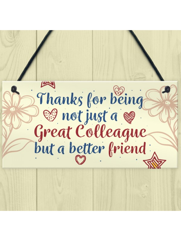 Work Colleague Friendship Friend Hanging Wall Plaque Office Sign
