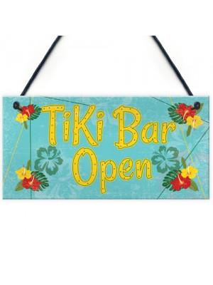 Tiki Bar Open Hanging Bar Plaque Beer Cocktail Beach Sign GIFT