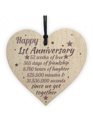 1st Wedding Anniversary Gift Wooden Heart Engagement Keepsake