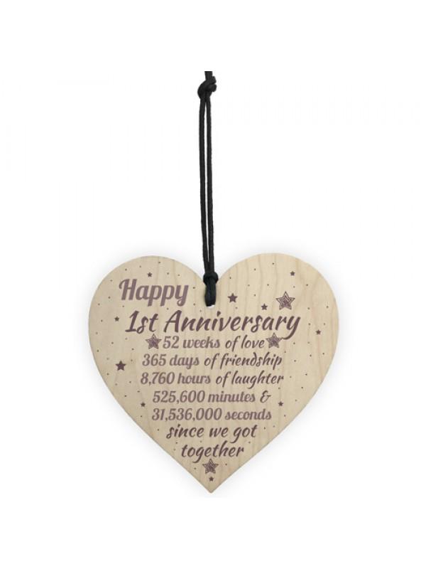 1st Wedding Anniversary Gift Wooden Heart Engagement Keepsake