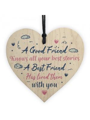 Best Friend Friendship Birthday Gift Handmade Wood Heart Plaque
