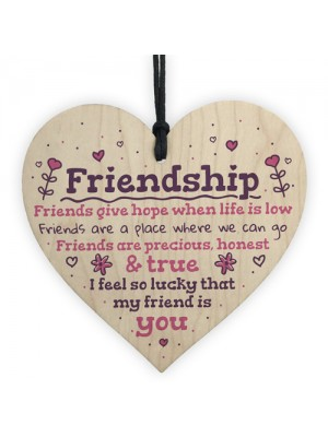 Handmade Friendship Gift Wooden Heart Plaque Birthday Thank You