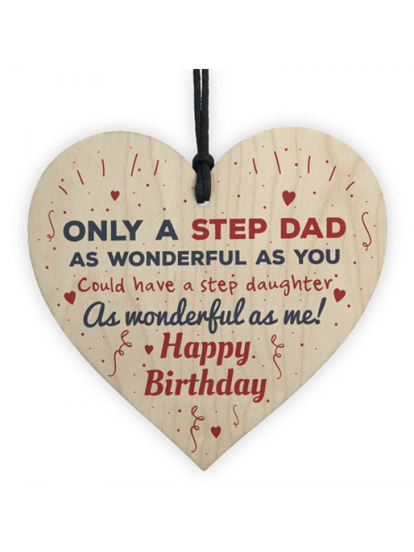 Stepdad Gifts Dad Birthday Gift Thank You Wood Heart Sign