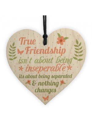 True Friendship Gift Best Friend Sign Handmade Wood Heart Plaque
