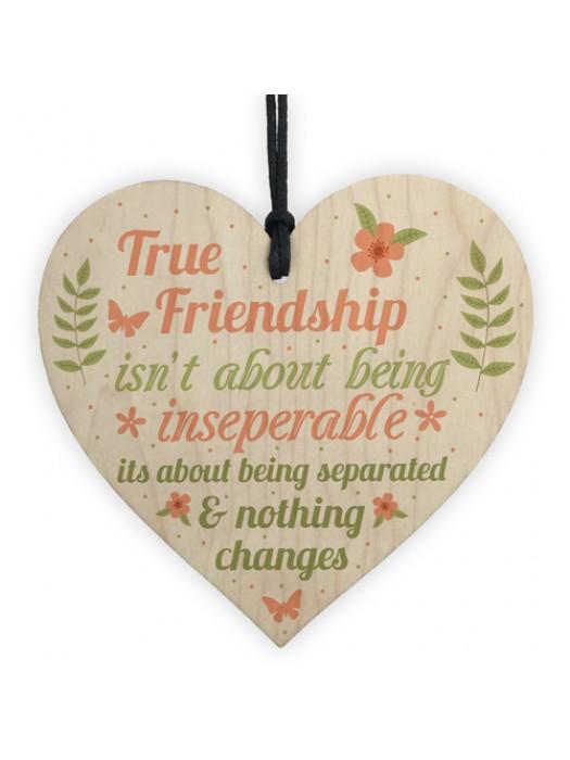 True Friendship Gift Best Friend Sign Handmade Wood Heart Plaque