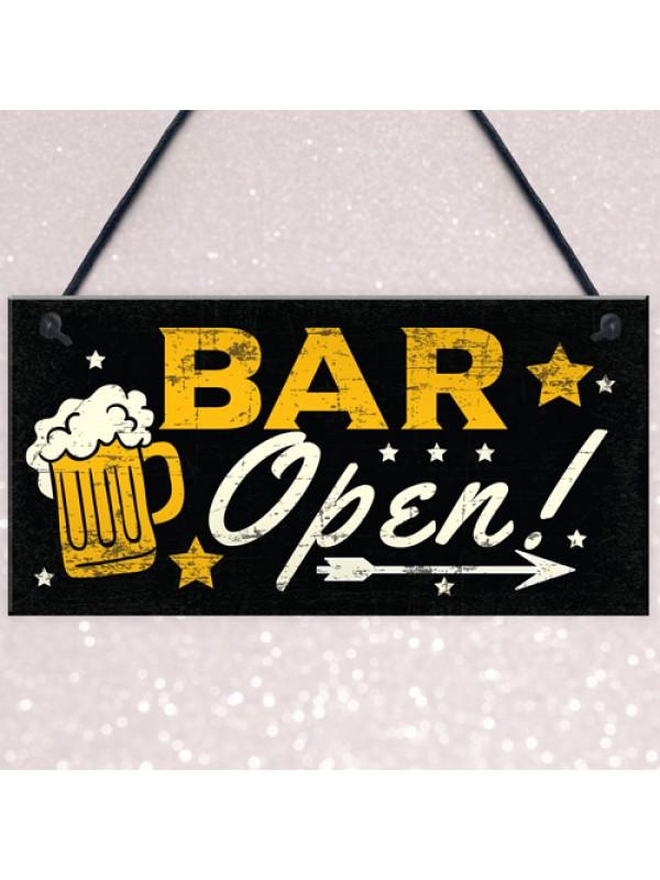 BAR OPEN Sign Beer Vodka Plaque Garden Shed Pub Man Cave Sign