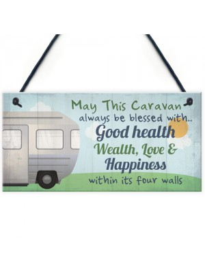 Bless This Caravan Plaque Novelty Camping Camper Sign Mum Gift
