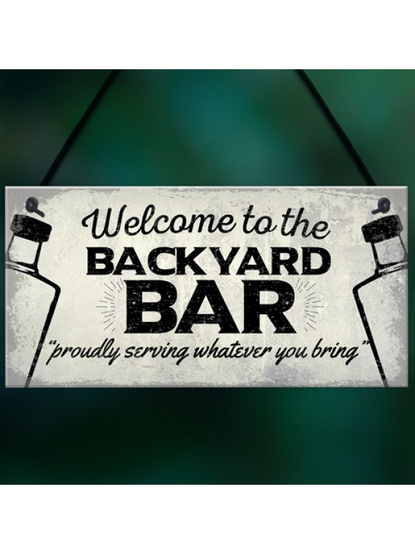 Backyard Bar Garden Plaque Alcohol Man Cave Vintage Beer Gin