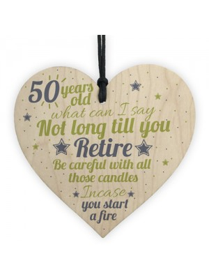 Funny 50th Birthday Gift Wooden Heart 50 For Dad Mum Sister