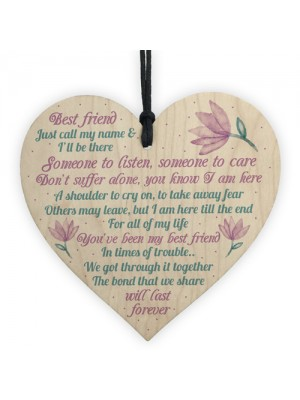 Inspirational Friendship Gift Wooden Heart Plaque Thank You Gift