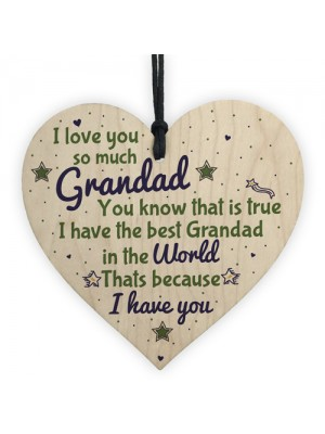 Grandad Gifts Birthday From Grandchildren Wooden Heart Sign Gift