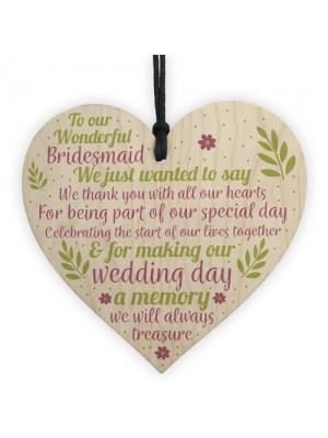 Wedding Heart Thank You Gift Bridesmaid Flower Girl Keepsakes