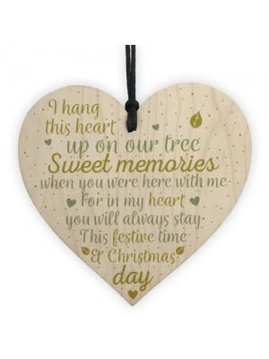 Christmas Tree Memorial Wood Heart Decoration Mum Dad Memorial