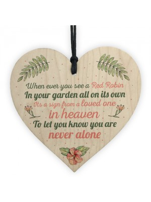 Robin Memorial Bereavement Garden Wood Heart Sign Plaque Gift