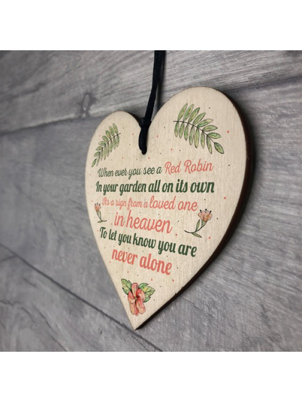 Robin Memorial Bereavement Garden Wood Heart Sign Plaque Gift