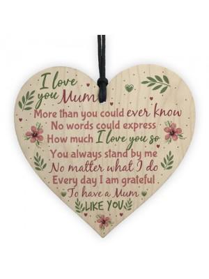 I Love You Mum Wooden Heart Cute Mum Mummy Thank You GIFT