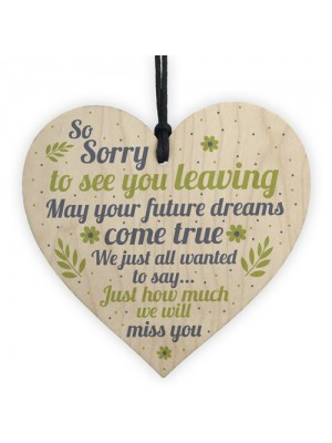 Colleague Leaving Gift Wood Heart Plaque Goodbye Gift Thank You