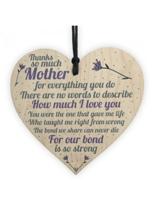 Thank You Mum Gifts Wooden Heart Cute Mums Sign Daughter Gift