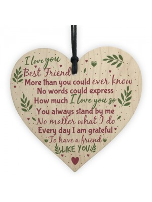 Friends Like You Friendship Sign Wood Heart Plaque Thank You