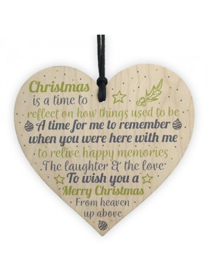 In Memory Christmas Wooden Heart Decoration Memorial Tree Sign