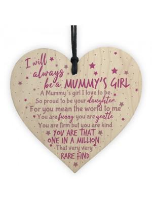 Mum Gifts Mummys Girl Wooden Heart Cute Mums Sign Daughter Gift