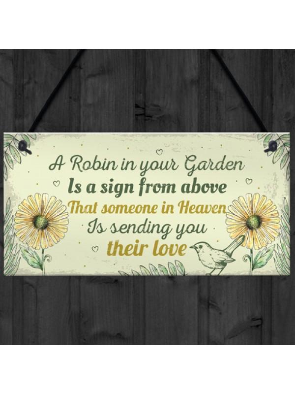 Robin Memorial Garden Bereavement Sign Family Grave Plaque