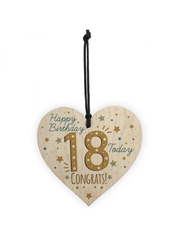 18th Birthday Handmade Wooden Heart Plaque Friendship Card Gift