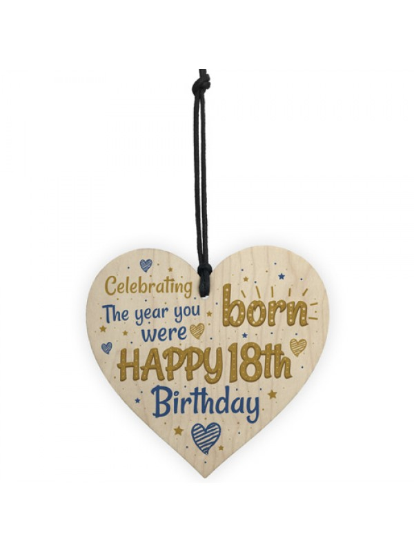 Handmade 18th Birthday Wooden Heart Sign Card Friendship Gift